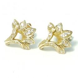 Златни обеци с циркони